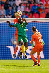 15-06-2019 FRA: Netherlands - Cameroon, Valenciennes<br /> FIFA Women's World Cup France group E match between Netherlands and Cameroon at Stade du Hainaut / Anouk Dekker #6 of the Netherlands, Michaela Abam #22 of Cameroon