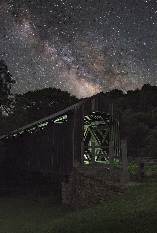 The covered bridge at Locust Creek near Hillsboro, West Virginia was originally built in 1870 and has since been rebuilt, listed in the national historic registry and closed to all but pedestrian traffic.  It remains as the only covered bridge in Pocahontas County.