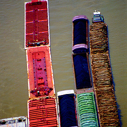 Aerial Photiograph of Barges on the Mississippi River