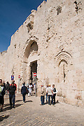 Israel, Jerusalem, Old City, Zion Gate (Bab An-nabi Daoud), in the walls surrounding the old city.  Zion Gate is located in the south of the city and leads to the Jewish and Armenian quarters, built in 1540
