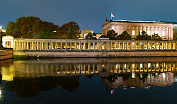 View of Museums at night  on Museum Island , Museumsinsel in Mitte Berlin, Germany, Architect David Chipperfield.