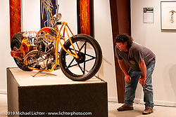 Canadian Chris (Rip) Rolfsen checking out Jesse Rooke's RookeStar 01 S&S custom posthumously included in the What's the Skinny Exhibition (2019 iteration of the Motorcycles as Art annual series) at the Sturgis Buffalo Chip during the Sturgis Black Hills Motorcycle Rally. SD, USA. Thursday, August 8, 2019. Photography ©2019 Michael Lichter.