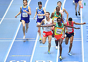Samuel Tefera (ETH) celebrates as he crosses the line to win the Men's 1500m Final in a time of 3.58.19 during the final session of the IAAF World Indoor Championships at Arena Birmingham in Birmingham, United Kingdom on Saturday, Mar 2, 2018. (Steve Flynn/Image of Sport)