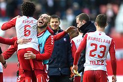 13-12-2015 NED: FC Utrecht - AFC Ajax, Utrecht<br /> Utrecht verslaat Ajax opnieuw in de Galgenwaard 1-0 / Yassin Ayoub #6 op de schouders bij Ruud Boymans #9