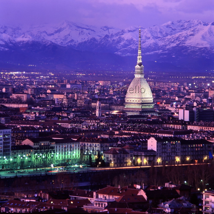 A cityscape at sunset of Turin