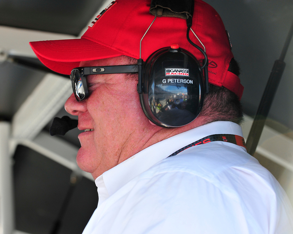 Team owner Chip Ganassi react to a crash in turn one that left Sage Karam and Justin Wilson injured on August 23rd, 2015, at Pocono Raceway in Long Pond. (Chris Post | lehighvalleylive.com)