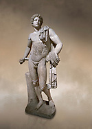 Roman statue of Apollo .Marble. Perge. 2nd century AD. Antalya Archaeology Museum; Turkey. Against a warm art background. .<br /> <br /> If you prefer to buy from our ALAMY STOCK LIBRARY page at https://www.alamy.com/portfolio/paul-williams-funkystock/greco-roman-sculptures.html . Type -    Antalya     - into LOWER SEARCH WITHIN GALLERY box - Refine search by adding a subject, place, background colour, museum etc.<br /> <br /> Visit our ROMAN WORLD PHOTO COLLECTIONS for more photos to download or buy as wall art prints https://funkystock.photoshelter.com/gallery-collection/The-Romans-Art-Artefacts-Antiquities-Historic-Sites-Pictures-Images/C0000r2uLJJo9_s0