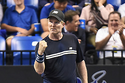October 4, 2018 - St. Louis, Missouri, U.S - JIM COURIER celebrates a big point during the Invest Series True Champions Classic on Thursday, October 4, 2018, held at The Chaifetz Arena in St. Louis, MO (Photo credit Richard Ulreich / ZUMA Press) (Credit Image: © Richard Ulreich/ZUMA Wire)