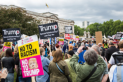 London, UK. 3 June, 2019. Protesters attend a noise demonstration outside Buckingham Palace against the state visit of President Trump to the UK. The US President is scheduled to attend a banquet at Buckingham Palace this evening.