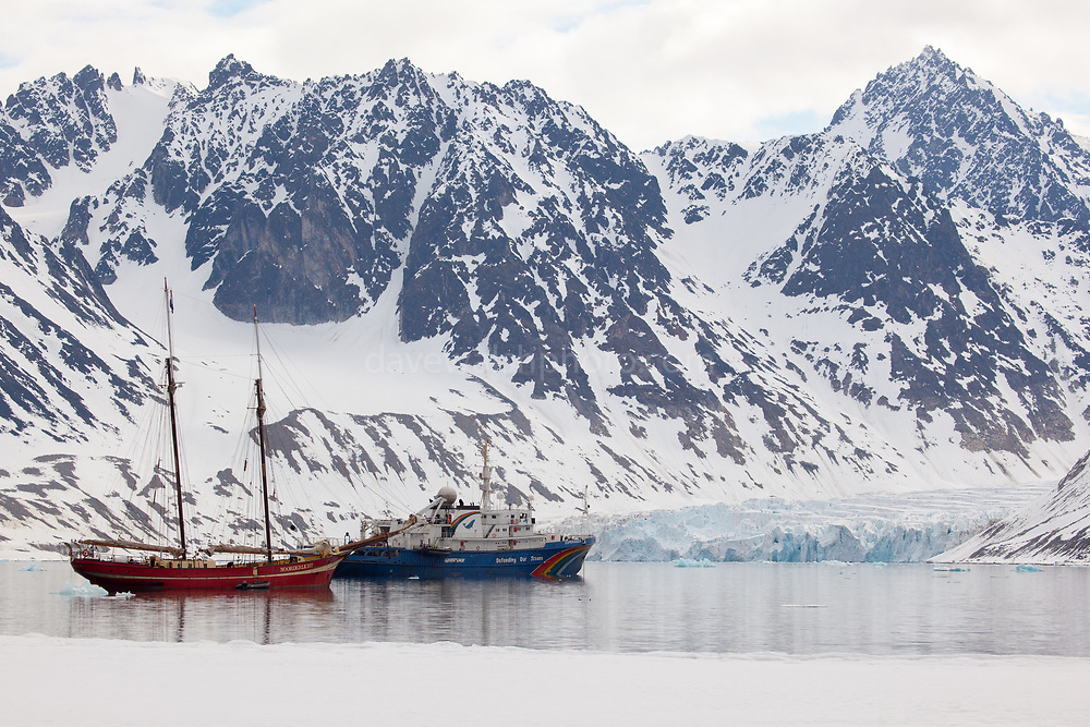 Greenpeace ship Esperanza and sailing ship Noorderlicht in Magdelanefjorden. Magdalenefjorden, and 8km long, 5km wide fjord on the west coast of Spitsbergen, in the Arctic archipelego of Svalbard. Large cruise ships regularly enter the fjord. However, heavy fuel oil, which is used in many ships, is banned in Magdalenefjorden. However, Magdalenefjorden is regarded as having being sacrificed to tourism to protect other areas of Svalbard.