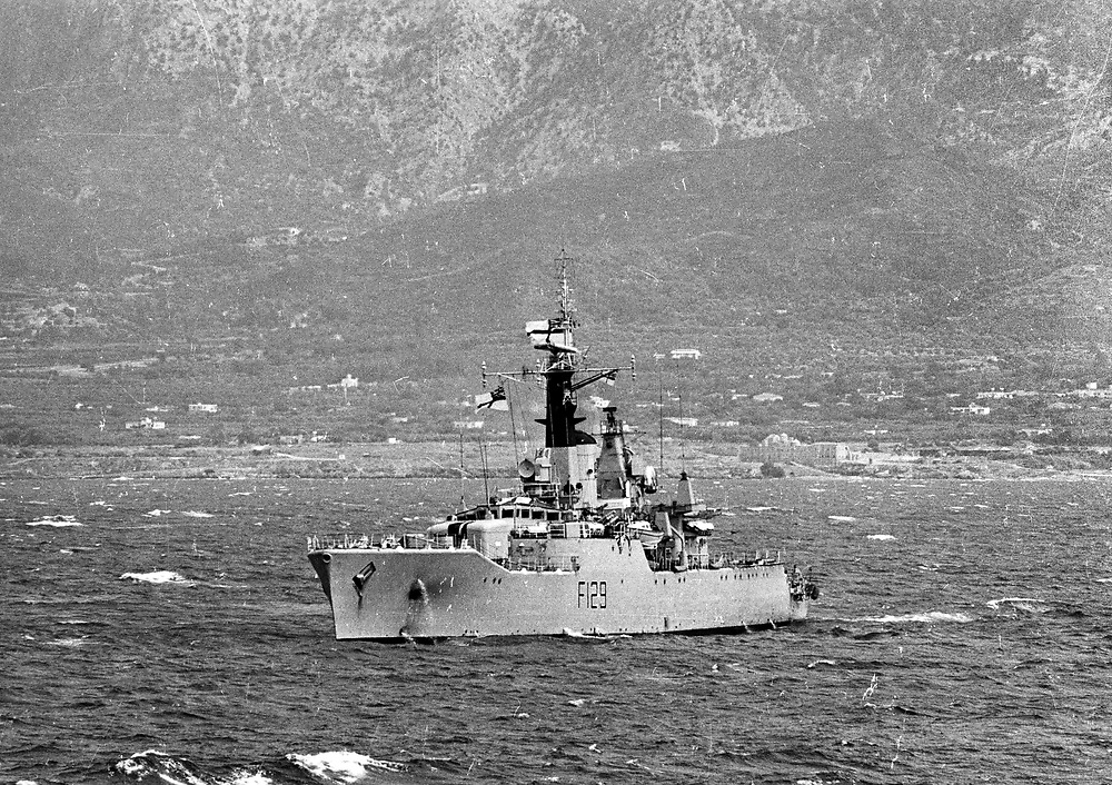 Cyprus War 20 July–18 August 1974. Turkish invasion of Cyprus code-name by Turkey, Operation Attila. HMS Rhyl, a Rothesay or Type 12I class anti-submarine frigate of the British Royal Navy arrives to rescue British and German tourists caught up in the fighting near Kyrenia, Cyprus July 1974. Photo by Terry Fincher.
