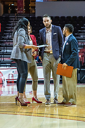 NORMAL, IL - February 27: Amaka Aququa-Hamilton, Tori Jankoska, Seth Minter and Franqua Bedell during a college women's basketball game between the ISU Redbirds and the Bears of Missouri State February 27 2020 at Redbird Arena in Normal, IL. (Photo by Alan Look)