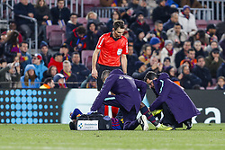 January 20, 2019 - Barcelona, Spain - Ousmane Dembele (11) of FC Barcelona injured during the match FC Barcelona against CD Leganes, for the round 20 of the Liga Santander, played at Camp Nou  on 20th January 2019 in Barcelona, Spain. (Credit: Mikel Trigueros/Urbanandsport / NurPhoto) (Credit Image: © Mikel Trigueros/NurPhoto via ZUMA Press)