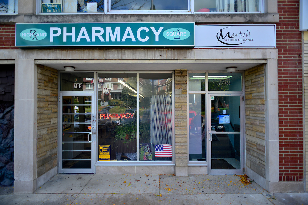 Front entrance of Highland Square Pharmacy and Martell School of Dance.