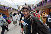 Actors dress as characters from the Edo (samurai) Period to welcome visitors to Haneda International Airport, Tokyo, Japan. Tuesday May 3rd 2016. The Edo festival takes place over the three days of national holidays called Golden Week ( May 3rd to 5th) and features costume parades, music and stage shows along with other fun activities for visitors in and around the Edo themed shopping areas in the terminal building.