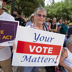 Voter suppression protests continue in Austin as Democratic legislators remain holed up in Washington fighting Republican efforts to pass more restrictive voting laws in Texas. A coalition of faith-based leaders, the League of Women Voters (LWV) and the NAACP gather Monday at the Texas Capitol prior to this week's special session.