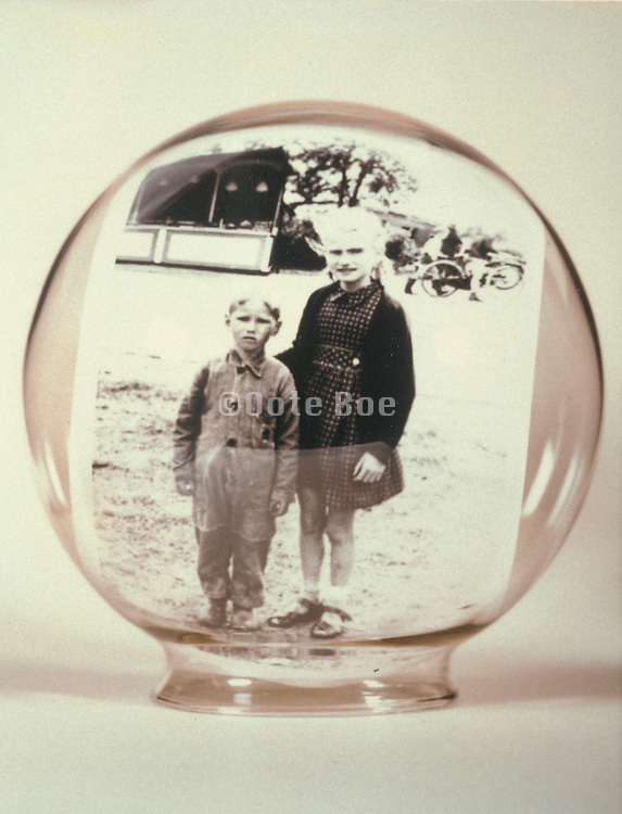 vintage photograph in glass dome