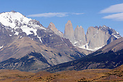 The Torres del Paine from the The Laguna Amarga entrance to the Torres el Paine National Park.  Torre Central is in the centre  with Torre Nord and Cerro Nodo de Condor to the right.  Torres del Paine National Park, Republic of Chile 19Feb13