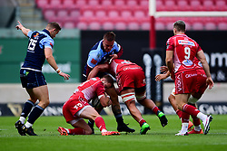 Guinness PRO14, Parc y Scarlets, Llanelli, UK 22/8/2020<br /> Scarlets v Cardiff Blues<br /> Steff Hughes of Scarlets is tackled by Will Boyde of Cardiff Blues<br /> Mandatory Credit ©INPHO/Ryan Hiscott