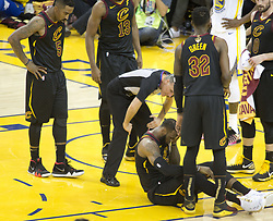 May 31, 2018 - Oakland, California, U.S - LeBron James #23 of the Cleveland  Cavaliers is fouled  during  their NBA Championship Game 1 with the Golden  State Warriors  at Oracle Arena in Oakland, California on  Thursday,  May 31, 2018. (Credit Image: © Prensa Internacional via ZUMA Wire)