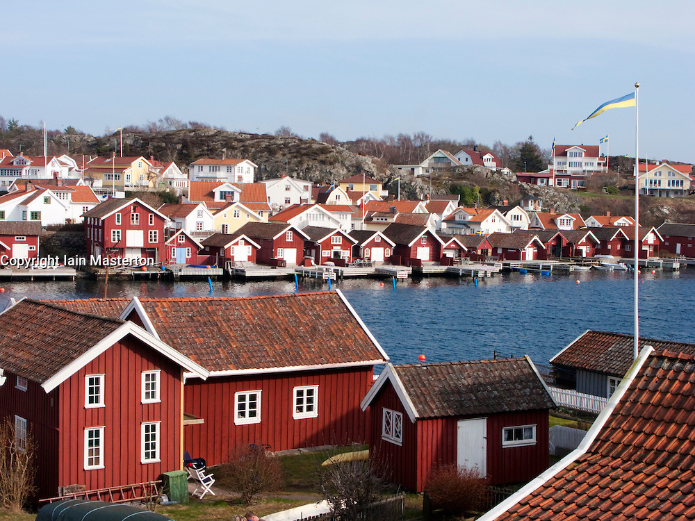 View over village of Fiskebackskil on Swedens Bohuslan coast in West Gotland
