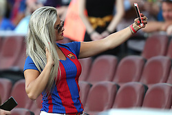 August 7, 2017 - Barcelona, Spain - A Supporter of FC Barcelona makes a selfie ahead of the 2017 Joan Gamper Trophy football match between FC Barcelona and Chapecoense on August 7, 2017 at Camp Nou stadium in Barcelona, Spain. (Credit Image: © Manuel Blondeau via ZUMA Wire)