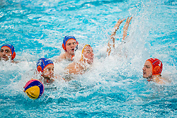 Thomas Lucas, Guus Wolswinkel, Jesse Nispeling, Eelco Wagenaar of the Netherlands in action against Montenegro during the Olympic qualifying tournament. The Dutch water polo players are on the hunt for a starting ticket for the Olympic Games on February 19, 2021 in Rotterdam