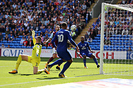Junior Hoilett of Cardiff city (r)  scores his sides 2nd goal as the ball is played to him by teammate Kenneth Zohore (10) of Cardiff city .  EFL Skybet championship match, Cardiff city v Aston Villa at the Cardiff City Stadium in Cardiff, South Wales on Saturday 12th August 2017.<br /> pic by Andrew Orchard, Andrew Orchard sports photography.