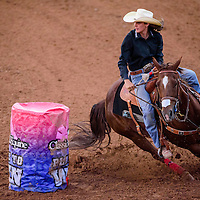 062615       Cable Hoover<br /> <br /> Peyton McKinley rounds her first barrel during the Best of the Best Timed Event Invitational youth rodeo Friday at Red Rock Park.