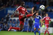 Albert Adomah of Middlesbrough breaks into the box but is caught offside. Skybet football league championship match, Cardiff city v Middlesbrough at the Cardiff city Stadium in Cardiff, South Wales  on Tuesday 20th October 2015.<br /> pic by  Andrew Orchard, Andrew Orchard sports photography.