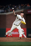 San Francisco Giants starting pitcher Matt Cain (18) pitches against the Los Angeles Dodgers at AT&T Park in San Francisco, California, on April 24, 2017. (Stan Olszewski/Special to S.F. Examiner)