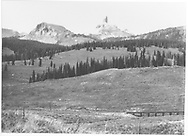 View of Lizard Head Peak with RGS Bridge 55-A at right.<br /> RGS  Snow, CO