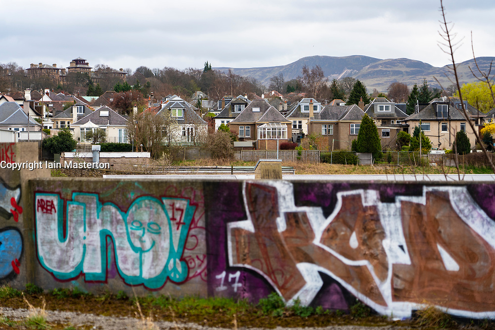 View of bungalows at Craiglockhart suburb from the Union Canal in Edinburgh, Scotland, UK