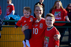 YSTRAD MYNACH, WALES - Wednesday, April 5, 2017: Wales' Jessica Fishlock catches up with family after the Women's International Friendly match against Northern Ireland at Ystrad Mynach. (Pic by Laura Malkin/Propaganda)