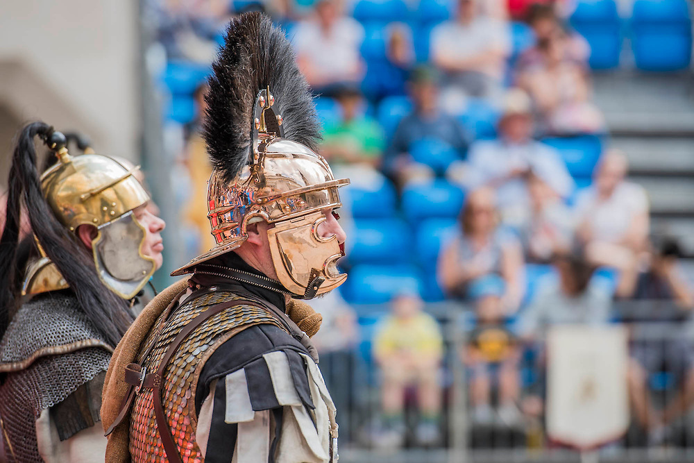 Guarding the Royal box - Gladiators gather on the site of London's only performers that worked on Ridley Scott's Gladiator film will clash on the spot where gladiators battled 2,000 years ago in the courtyard of the Guildhall. Ten public evening and matinee performances will take place on selected dates between 8 and 16 August. Full information and tickets at www.museumoflondon.org.uk<br /> <br /> <br /> Hidden for centuries, the ancient remains of London's Roman amphitheatre were discovered by archaeologists in 1988. They are open for viewing all year. The Gladiator Games are performed by Britannia, renowned for its work on the Ridley Scott film, Gladiator. Each performance is the result of research into events in the 1st century A.D., using images drawn from Roman coins, paintings, sculpture and mosaics.