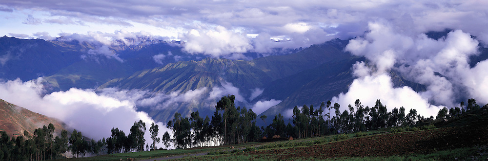 PERU, HIGHLANDS, CUZCO farmland in Cordillera Urubamba Mountains