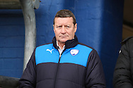 Danny Wilson, Chesterfield manager during the Sky Bet League 1 match between Oldham Athletic and Chesterfield at Boundary Park, Oldham, England on 28 March 2016. Photo by Simon Brady.