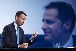 Italy, Rome - May 5, 2019.The Italian deputy prime minister and labour minister Luigi di Maio guest at 'Mezz'ora in più' TV talk show..Armando Siri on the screen (Credit Image: © Mistrulli/Fotogramma/Ropi via ZUMA Press)