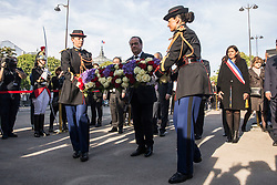French President Francois Hollande lays a wreath during a ceremony to mark the 102nd anniversary of the Armenian genocide, in Paris, France on April 24, 2017. The anniversary is to remember the beginning of events that led to the systematic extermination of 1.5 million Armenians during World War I. Photo by Kamil Zihnioglu/Pool/ABACAPRESS.COM