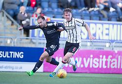 Falkirk's Conrad Balatoni and Dunfermline's Lee Ashcroft. half time : Falkirk 1 v 0 Dunfermline, Scottish Challenge Cup played 7/9/2017 at The Falkirk Stadium.