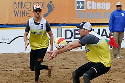 20140817 NED: NK Beachvolleybal 2014, Scheveningen<br /> Robert Meeuwsen en Alexander Brouwer zijn voor de 3de keer op rij Nederlands Kampioen Beachvolleybal<br /> ©2014-FotoHoogendoorn.nl / Pim Waslander