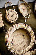 Gullah sweetgrass baskets on display in Mt Pleasant, SC.