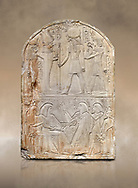 Ancient Egyptian stele dedicated to the god Re-Harakhty by sculptor Ipy, limestone, New Kingdom, 19th Dynasty, (1279-1213 BC), Deir el-Medina, Drovetti cat 7357. Egyptian Museum, Turin. .<br /> <br /> If you prefer to buy from our ALAMY PHOTO LIBRARY  Collection visit : https://www.alamy.com/portfolio/paul-williams-funkystock/ancient-egyptian-art-artefacts.html  . Type -   Turin   - into the LOWER SEARCH WITHIN GALLERY box. Refine search by adding background colour, subject etc<br /> <br /> Visit our ANCIENT WORLD PHOTO COLLECTIONS for more photos to download or buy as wall art prints https://funkystock.photoshelter.com/gallery-collection/Ancient-World-Art-Antiquities-Historic-Sites-Pictures-Images-of/C00006u26yqSkDOM