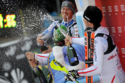 06.01.2013, Crveni Spust, Zagreb, CRO, FIS Ski Alpin Weltcup, Slalom, Herren, Podium, im Bild v.l.n.r. Andre Myhrer (SWE, Platz 2), Marcel Hirscher (AUT, Platz 1) und Mario Matt (AUT, platz 3) // f.l.t.r. 2nd place Andre Myhrer of Sweden, 1st place Marcel Hirscher of Austria and 3th place Mario Matt of Austria celebrate on podium of the mens Slalom of the FIS ski alpine world cup at Crveni Spust course in Zagreb, Croatia on 2013/01/06. EXPA Pictures © 2013, PhotoCredit: EXPA/ Pixsell/ Daniel Kasap..***** ATTENTION - for AUT, SLO, SUI, ITA, FRA only *****