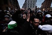 Uomini protestano durante la manifestazione, Riprendiamoci la città, organizzata dai movimenti del diritto all'abitare. Roma, 19 gennaio 2013. Christian Mantuano / OneShot