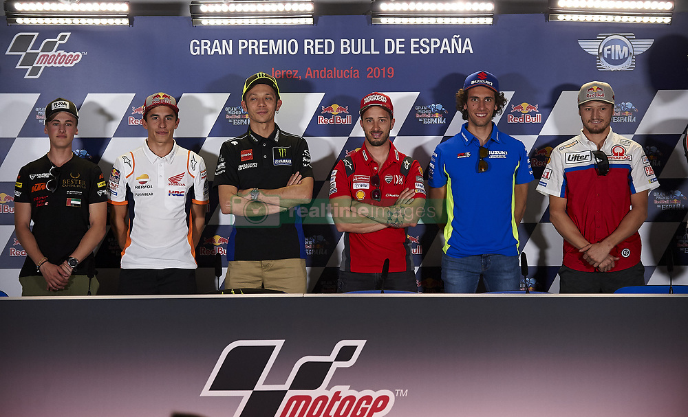 May 2, 2019 - Jerez De La Frontera, Cadiz, Spain - (R-L) Jaume Masia (5) of Spain and Bester Capital Dubai KTM, Marc Marquez (93) of Spain and Repsol Honda Team, Valentino Rossi (46) of Italy and Yamaha Factory Racing, Andrea Dovizioso (4) of Italy and Ducati Team, Alex Rins (42) of Spain and Team Suzuki Ecstar and Jack Miller (43) of Australia and Alma Pramac Racing Ducati during the press conference before Red Bull GP of Spain at Circuito de Jerez on May 2, 2019 in Jerez de la Frontera, Spain. (Credit Image: © Jose Breton/NurPhoto via ZUMA Press)