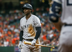 April 30, 2018 - Houston, TX, U.S. - HOUSTON, TX - APRIL 30:  New York Yankees shortstop Didi Gregorius (18) reacts after striking out in the top of the fourth inning during the baseball game between the New York Yankees and Houston Astros on April 30, 2018 at Minute Maid Park in Houston, Texas.  (Photo by Leslie Plaza Johnson/Icon Sportswire) (Credit Image: © Leslie Plaza Johnson/Icon SMI via ZUMA Press)