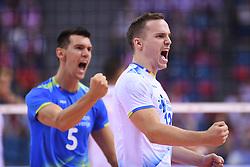 Alen Sket, Janik Kovacic of Slovenia during the CEV Volleyball European Championship game Poland - Slovenia on August 30, 2017 in Krakow, Poland. (Photo by Krzysztof Porebski / Press Focus)