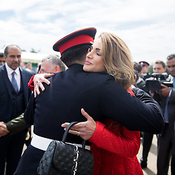 Queen Rania of Jordan hugs her son, Crown Prince Hussein, who just graduated from Royal Military Academy Sandhurst (RMAS), known as Sandhurst, on August 11, 2017, in Camberley, south west of London, United Kingdom. Photo by Balkis Press/ABACAPRESS.COM