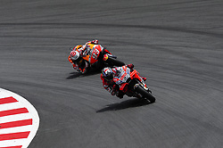 June 17, 2018 - Barcelona, Catalonia, Spain - The Spanish riders, Jorge Lorenzo of Ducati Tea, and Marc Marquez of Repsol Honda Team, during the Catalunya Motorcycle Grand Prix at Circuit de Catalunya on June 17, 2018 in Barcelona, Spain. (Credit Image: © Joan Cros/NurPhoto via ZUMA Press)